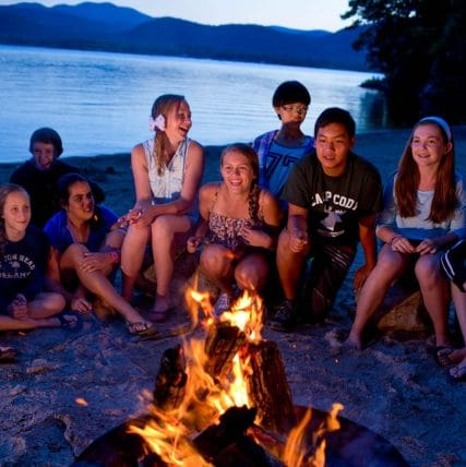 campers around a camp fire
