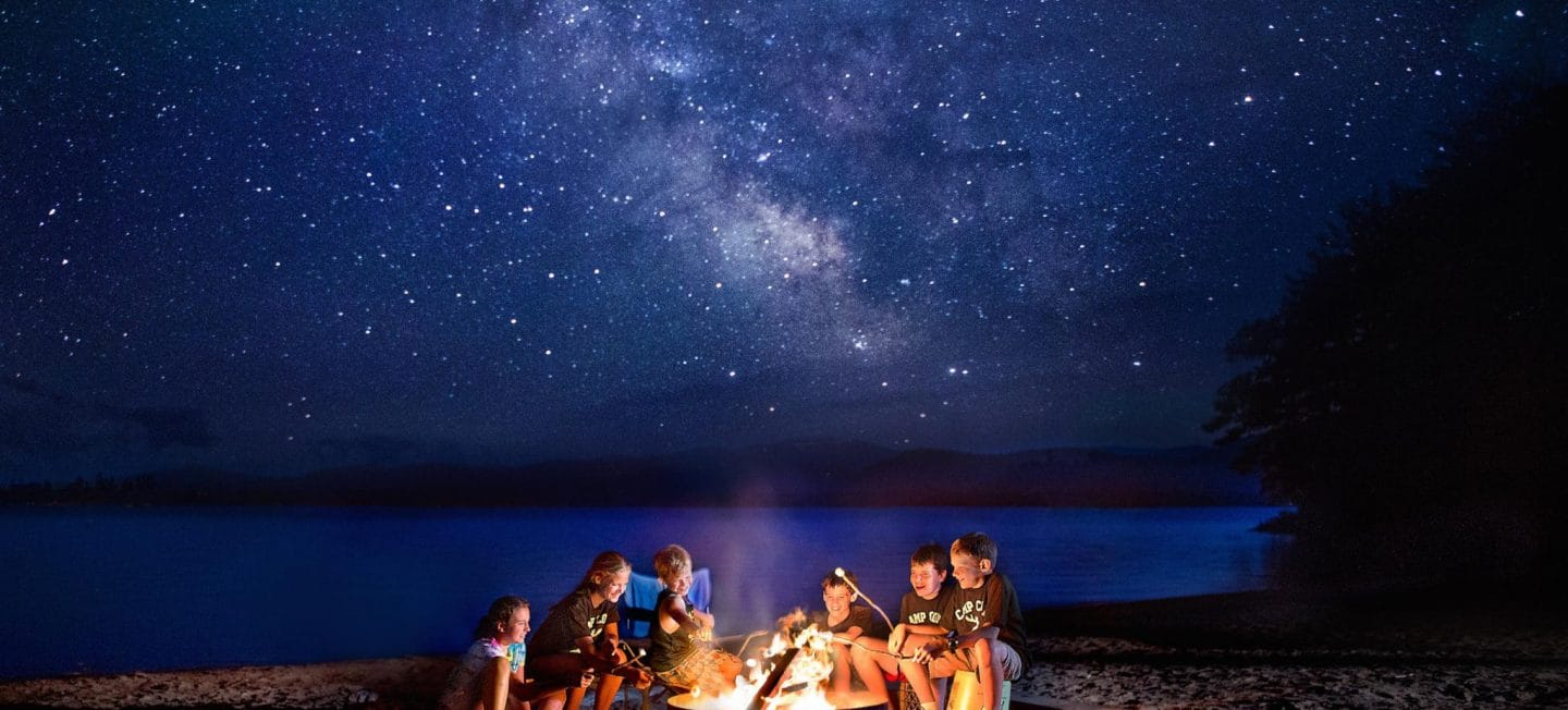 kids roasting marshmallows over a campfire under a very starry sky