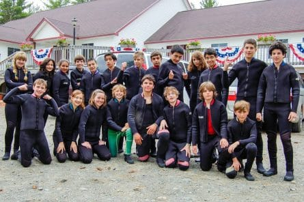group of campers at scuba diving training